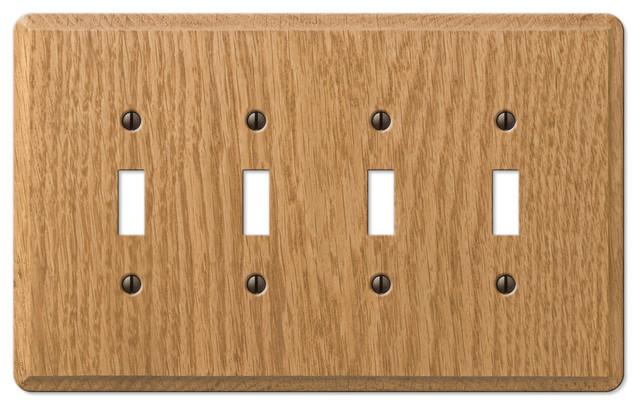 Contemporary oak wood toggle wall plate