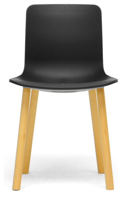 Lyle black plastic modern dining chairs set of 2 for Black plastic dining chairs
