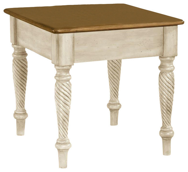 Square End Table With Antique White Finish Wilshire Contemporary Side Tables And End Tables