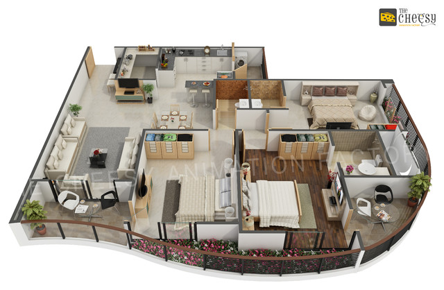 3d Floor Plan Rendering Contemporary Other Metro By