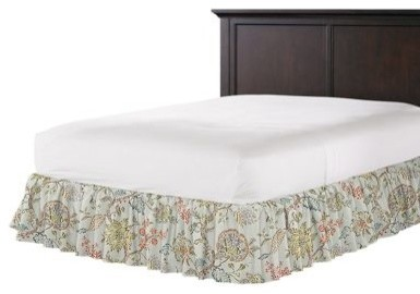 delicate aqua blue floral ruffle bed skirt traditional