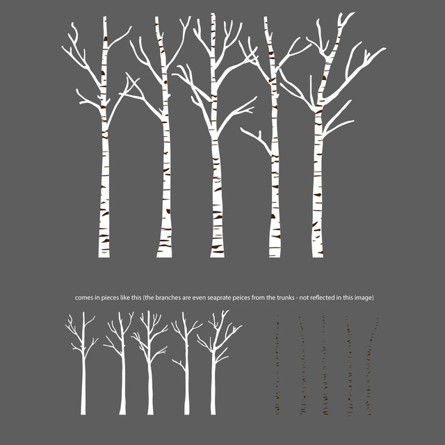 Birch Trees Silhouettes Forrest Wall Decal Contemporary