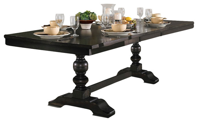 Trestle base dining table traditional dining tables for Traditional dining table bases