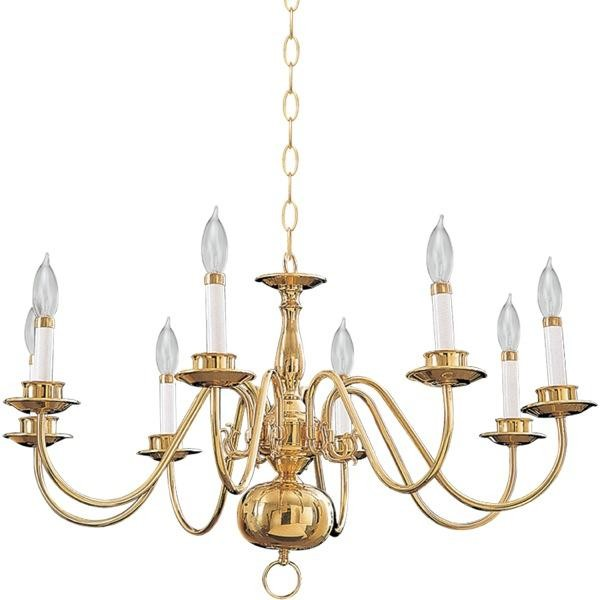 Eight Light Polished Brass Up Chandelier