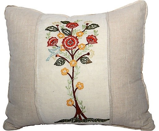 Floral Embroidered Decorative Pillow : Embroidered Floral Pillow - Eclectic - Decorative Pillows - new york - by Omero