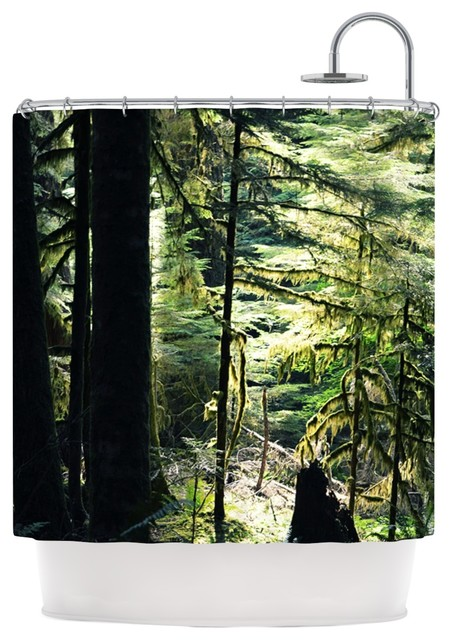 Robin dickinson enchanted forest green shower curtain - Forest green shower curtain ...