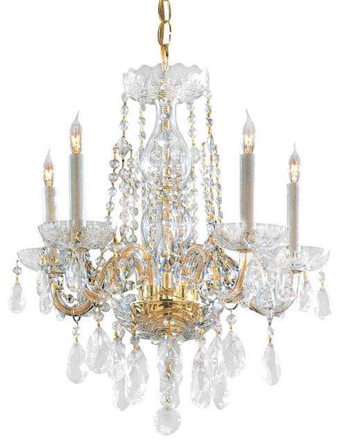 Traditional crystal five light polished brass up mini chandelier traditional chandeliers - Traditional crystal chandeliers ...