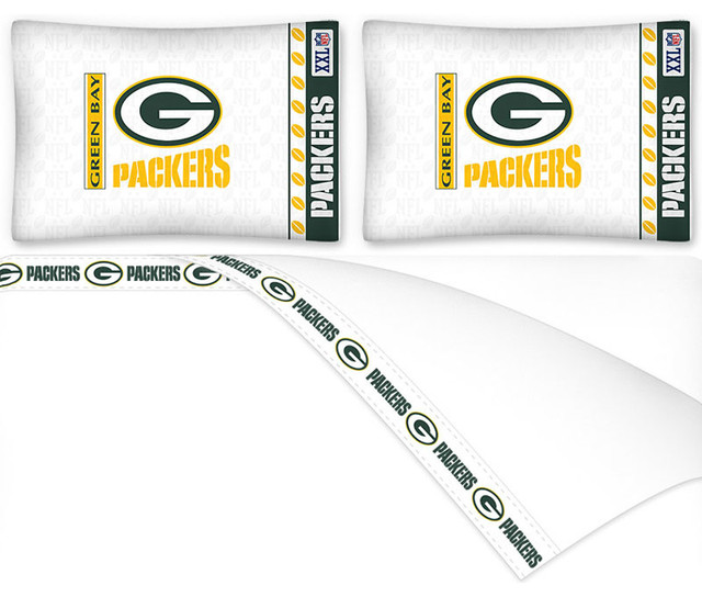 Nfl green bay packers bed sheets set football bedding contemporary