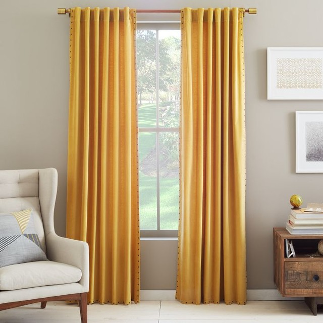 Velvet nailhead curtain horseradish contemporary for West elm window treatments