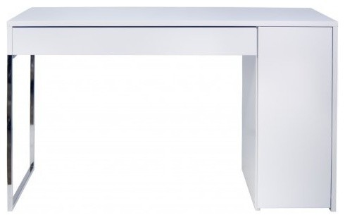 Temahome prado bureau laque blanche mate pieds chrome for Meuble bureau contemporain
