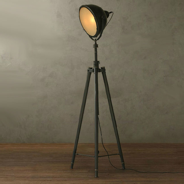 Nurham Industrial Matte Glass Shade Heavy Metal Floor Lamp