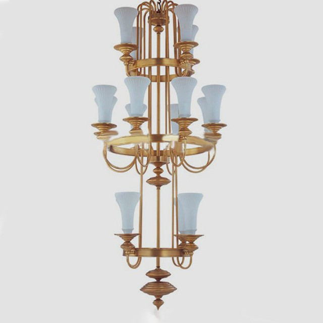Modern Chandeliers Nyc: Antique Complete Copper And White Glass Shades Chandelier