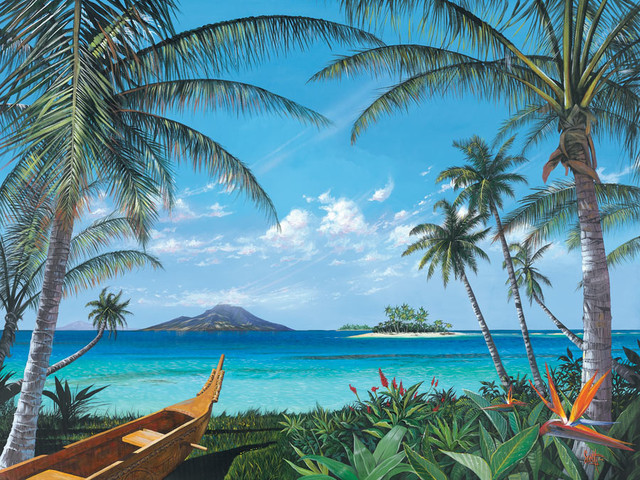 tropic travels wall mural tropical wallpaper