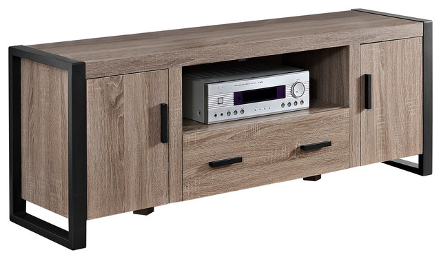 """60"""" Urban Blend TV Stand With Mount, Driftwood/Black - Contemporary - Entertainment Centers And ..."""