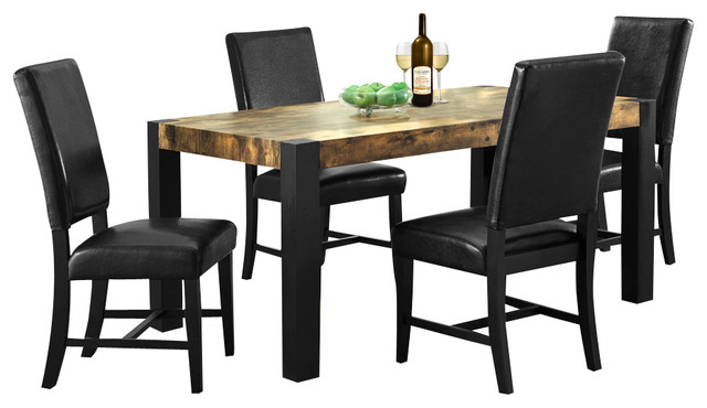 Distressed reclaimed look black 5 piece dining room set for Traditional black dining room sets