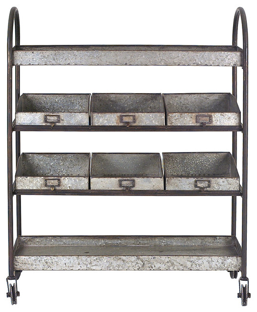 """46""""H Metal Shelves Rolling Cart - Rustic - Kitchen Islands And Kitchen ..."""