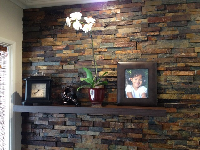 Interior Ledger Stone Wall Application Rustic Los