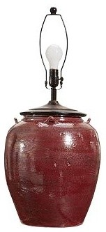 Courtney Ceramic Table Lamp Base, Red Glaze   Traditional   Lamp Bases .