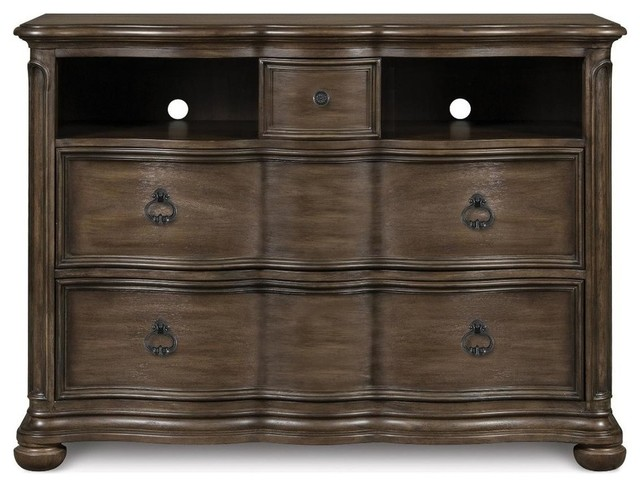 Magnussen Furniture Broughton Hall Media Chest Distressed Nutmeg Traditional Furniture By