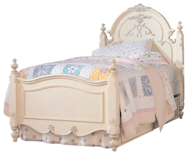 Lea Jessica Mcclintock Panel Bed In Antique White Twin Traditional