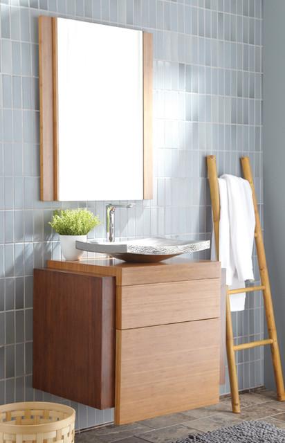 Harmony wall mount bamboo bath vanity by native trails for Modern bamboo bathroom vanity