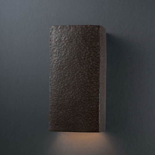 Moon Wall Light Remote Control : Ambiance Hammered Iron Large Rectangle Outdoor Wall Sconce - Modern - Outdoor Lighting - by Bellacor