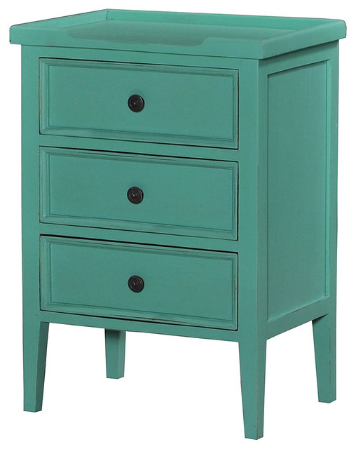 Eton 3-Drawer Nightstand, Teal - Contemporary - Nightstands And Bedside Tables