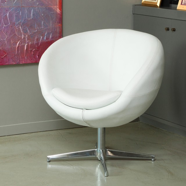 Christopher Knight Home Modern White Leather Roundback