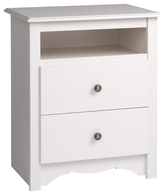 White monterey tall 2 drawer nightstand with open shelf for Tall modern nightstands