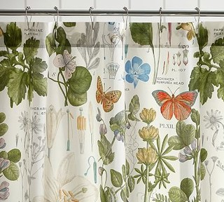 Poppy Botanical Print Shower Curtain, , Ivory - Shower Curtains - by ...