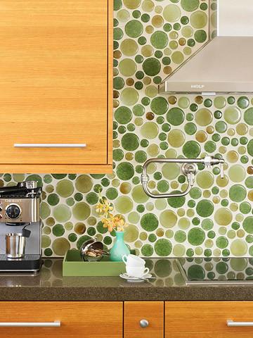 Green Glass Bubble Tile Kitchen Backsplash