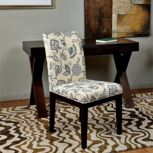 Parsons paisley scroll floral upholstered armless chair contemporary