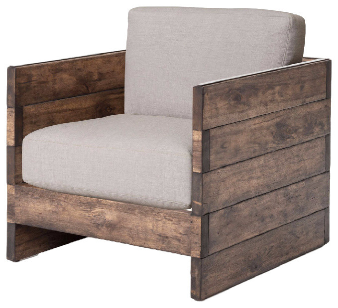 Watson Modern Rustic Lodge Chunky Wood Oak Square Arm Chair