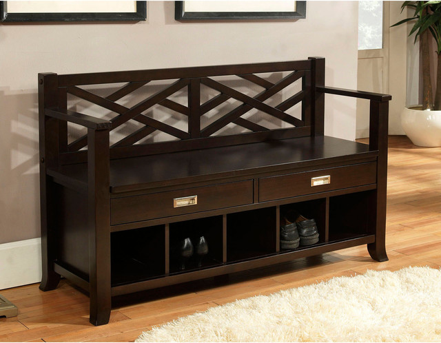 Espresso Foyer Bench : Lancaster espresso brown entryway storage bench with