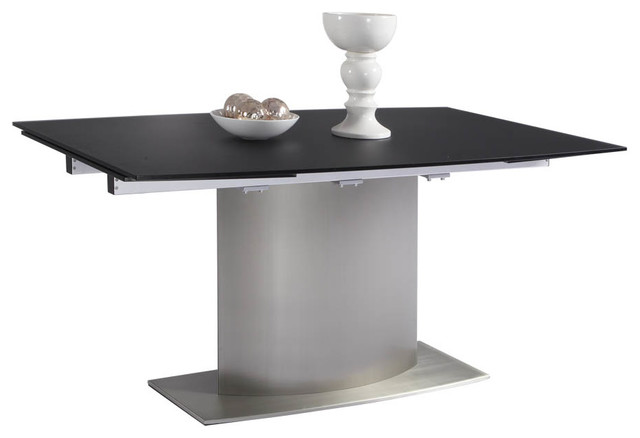 Whiteline unique 1 2 tempered black glass top extendable for Unusual extending dining tables