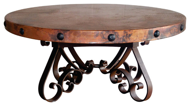 Round Iron Hand Hammered Copper Top Coffee Table Mediterranean Coffee Tables By Mexports
