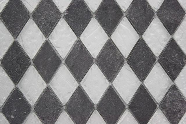 Sample- Geological Diamond Black Slate & Silver Glass Tiles Sample - Traditional - Tile - by TileBar