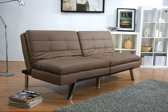 memphis taupe double cushion futon sofa bed contemporary futons