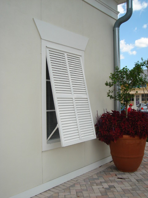 Celebration fl traditional bermuda shutter traditional orlando by sun barrier products for Bermuda style exterior shutters