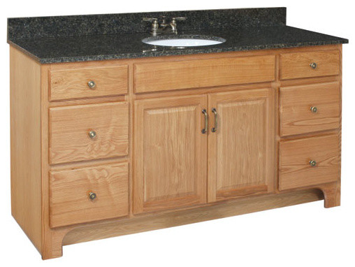 Richland 60 Inch Nutmeg Oak Vanity Cabinet Without Top Farmhouse Bathroom Vanities And Sink