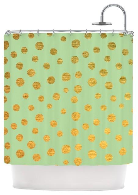 Nika Martinez Golden Dots And Mint Green Gold Shower