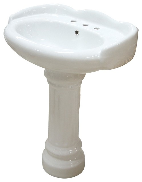 Wall Mount Pedestal Sink : Georgian China Wall Mount Pedestal Bathroom Sink With 8