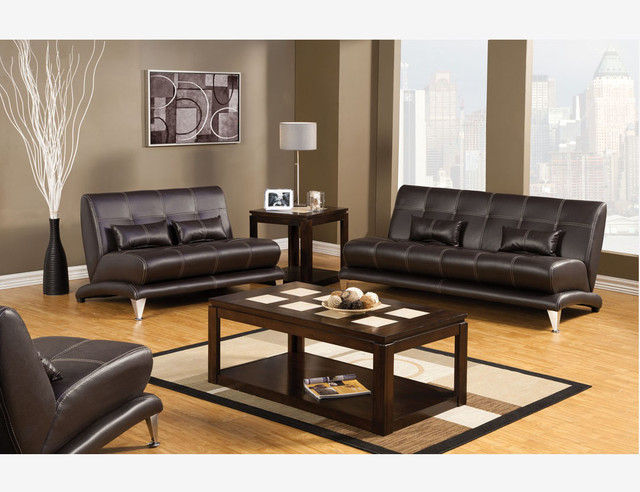 Sleek Espresso Leather Sofa Couch Loveseat Chair Living