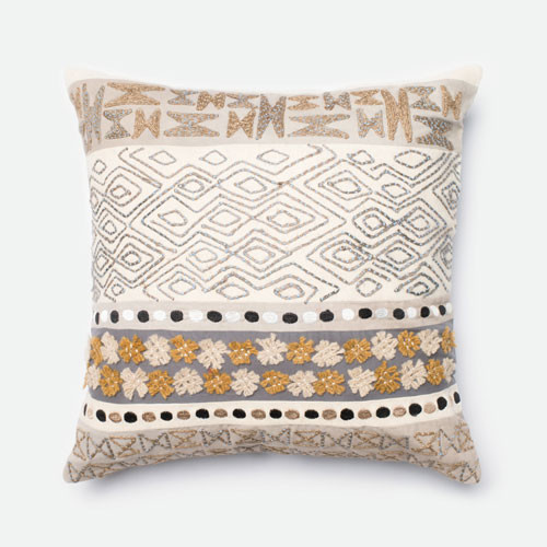Modern Bedroom Pillows : Beige and Grey 22-Inch Decorative Pillow - Modern - Bed Pillows - by Bellacor