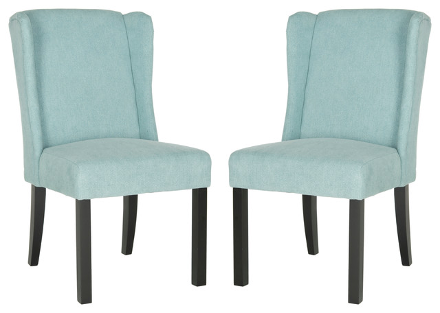 Hayden Wingback Chairs Blue Transitional Dining Chairs