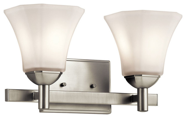 Contemporary Brushed Nickel Vanity Lights : Kichler Serena 2-Light Bath Light, Brushed Nickel - Contemporary - Bathroom Vanity Lighting - by ...