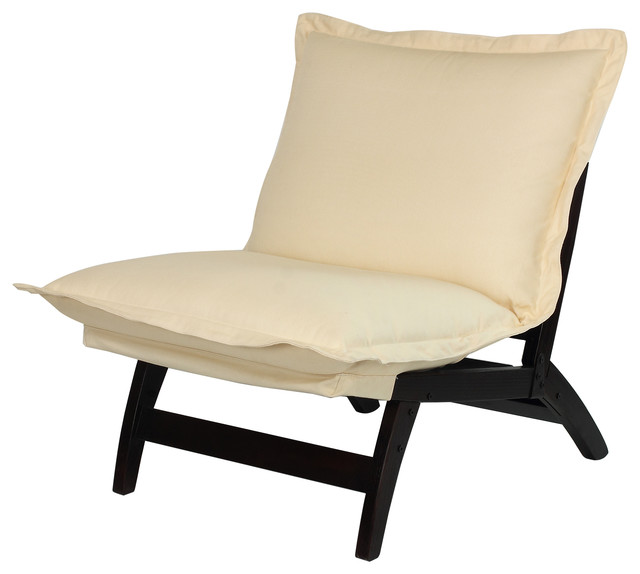 Casual Folding Lounger Chair Espresso Contemporary Indoor Chaise Lounge