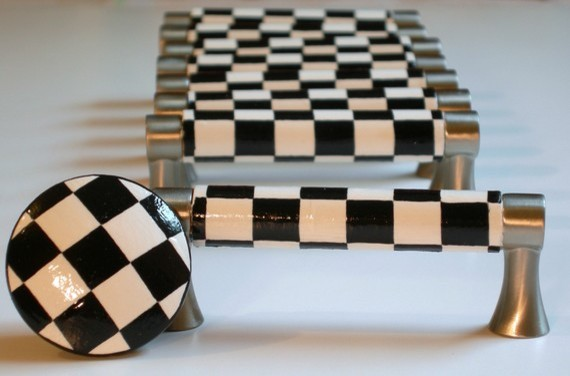 Hand Painted Black and White Checkered Drawer Pulls by Leila's Loft - Modern - Cabinet And ...