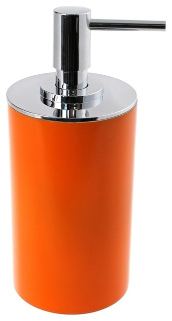 Free Standing Round Orange Soap Dispenser In Resin Contemporary Bathroom Accessories By