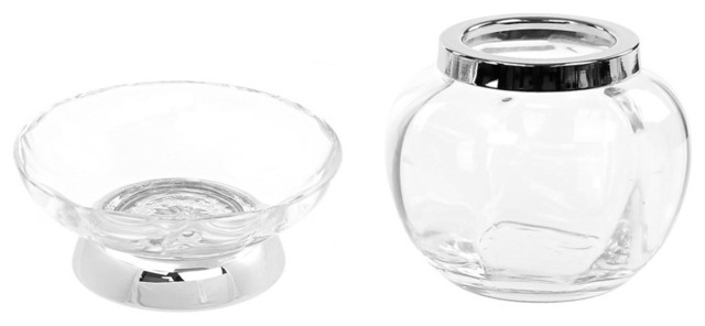 Chrome 2 piece accessory set of clear glass contemporary for Clear glass bathroom accessories